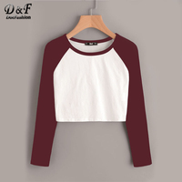 Dotfashion Contrast Raglan Sleeve Crop T-shirt 2017 Round Neck Woman Long Sleeve Top Autumn Color Block Casual T Shirt