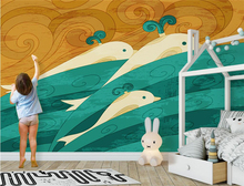 Custom Nature Wall Murals Hand Painted Whale Wall Paper for Kids Room Photo Wallpaper for Kids Background for Living Room Study