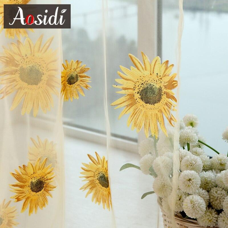 Gele bloemen venster tule gordijnen voor woonkamer slaapkamer bloemen - Thuis textiel