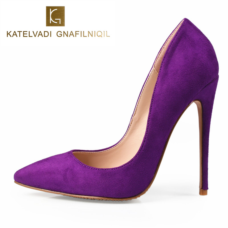 Sexy Purple Shoes Woman High Heels Pumps Stilettos Womens Shoes High Heels Sexy 12CM Ladies Heels Wedding Shoes For Woman K 011