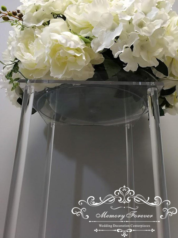 Acrylic Floor Vase Clear Flower Vase Table Centerpiece For Marriage Modern Vintage Floral Stand Columns For Wedding Decoration