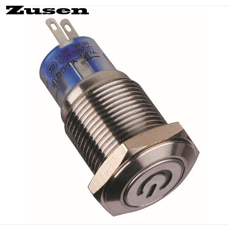 Zusen 16mm latching type illuminated Power symbol on-off push button switch(GQ16F-11ZDP/B/12V/S with illuminated power symbo 5pcs lot high quality 2 pin snap in on off position snap boat button switch 12v 110v 250v t1405 p0 5