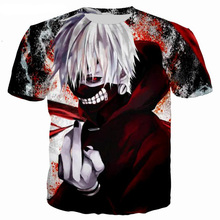 Jumeast Men/Women Tokyo Ghoul T Shirt Brand T-shirt 3d Print Ken Kaneki Summer Tops Tees T Shirt Drop Shipping drop shoulder milk print high low t shirt