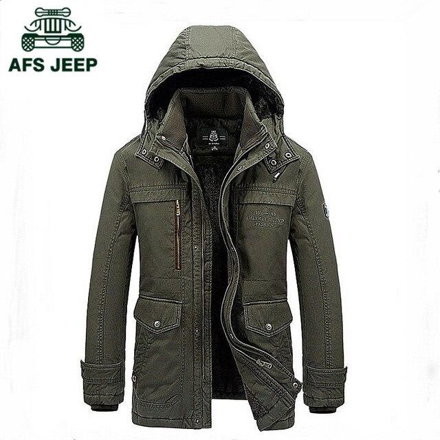 AFS JEEP Бренд Модной Одежды 100% Хлопок бархатная Куртка Parka Мужчины Зимняя Куртка Теплый Сгущает Военная Мужские Куртки И Пальто