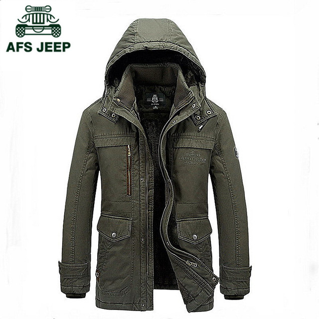 AFS JEEP Brand Clothing Fashion 100% Cotton Jacket velvet Parka Men Winter Jacket Warm Thicken Military Mens Jackets And Coats