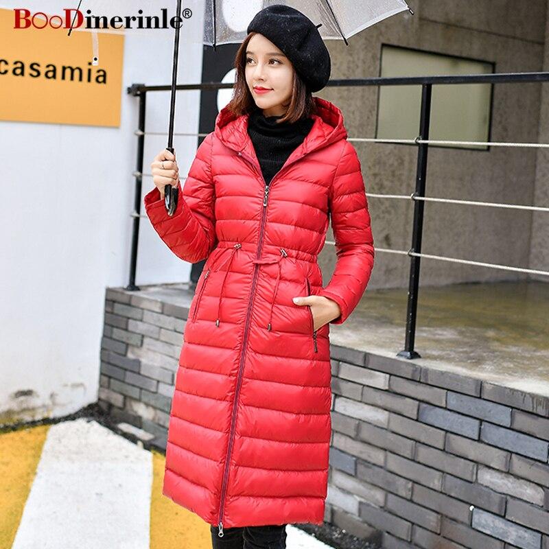 BOoDinerinle Women's Winter Ultra Light   Down     Coat   Slim Hooded Long Jacket With Belt Female White Duck   Down   Warm Outwear YR101