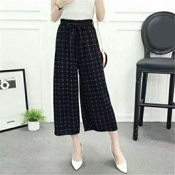 Womens Wide Leg High Waist Casual Summer Thin Pants Loose Culottes Trousers MUG88