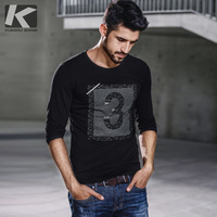 KUEGOU New Autumn Mens Fashion T Shirts Print Black Color Brand Clothing For Man S Long