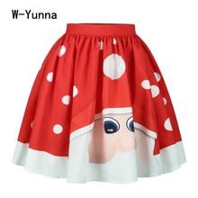 Dots Print High Waist Christmas Midi Skirt Women Knee-Length A-Line Flared Pleated Skirts