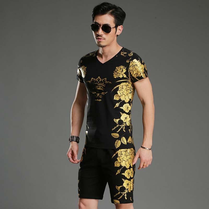 Summer Mens Suit Shorts 2 Piece Set Cotton T Shirt Mens Tracksuit Set Floral Gilding Paiting Chinese Style Short Pants