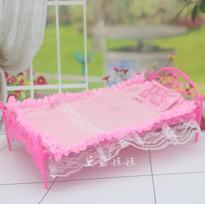 Dai blue Barbie doll bare baby dress up six points Princess bed bed European palace bed plus quilt
