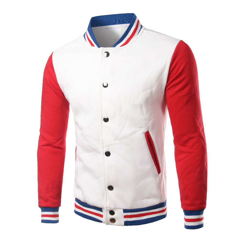Brand White Varsity Baseball Jacket Men/Women 2016 Fashion Slim Fit Fleece Cotton College Jackets For Fall Bomber Veste Homme-in Jackets from Men's Clothing