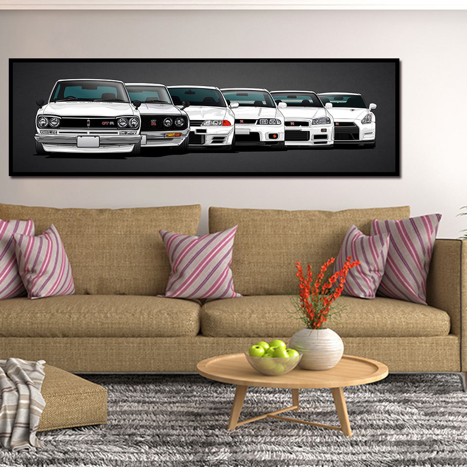 Canvas Painting HD Print Modular Artwork Modern 5 Pieces Nissan Skyline Gtr Car Pictures Bedside Home Decorative Wall Art Poster