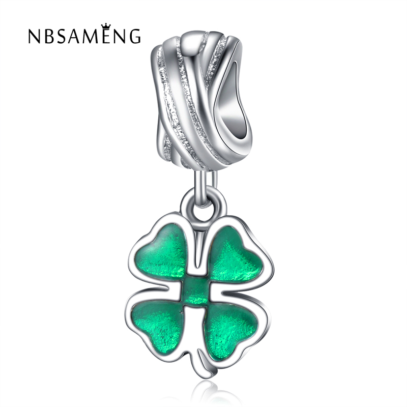 Authentic 100% 925 Sterling Silver Bead Charm Green Enamel Four Leaf Lucky Clover Hanging Fit Pandora Bracelets DIY Charms