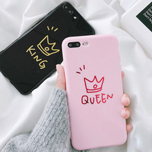 Cartoon Letter Crown KING QUEEN Glossy Case For iPhone X 6 6s 7 8 Plus Couples Letters XS MAX XR Cover