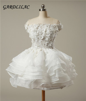 2017 real picture white sleeveless organza short graduation dress with applique beading ball gown dress for.jpg 350x350