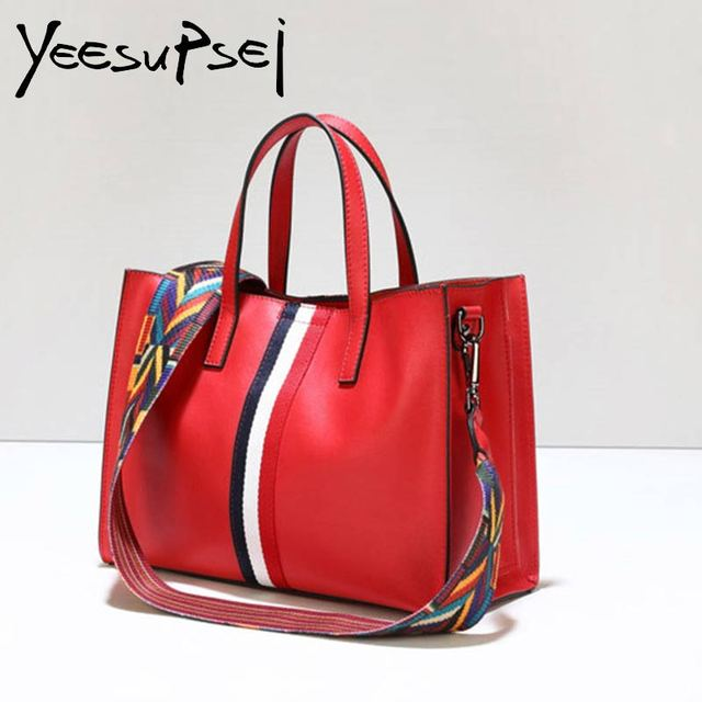 46bf2a07ce YeeSupSei Brand Luxury Handbag Designer Women Leather Wide Strap Bag Female Shoulder  Bag Women Messenger Bags Bucket Tote Big