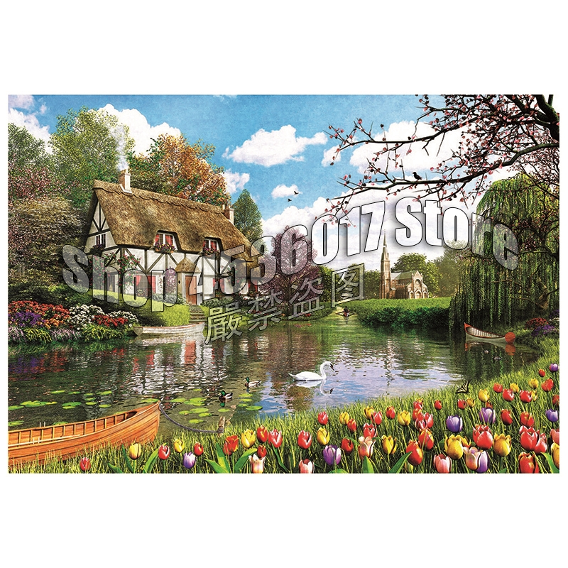 DIY Diamond Painting Lakeside Cottage Flowers Spring Christmas Gift Full Drill Diamond Embroidery Cross Stitch Mosaic Home Decor