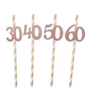 Image 5 - Chicinlife pajita de papel con número 30 40 50 60, Pajita para beber para cumpleaños/aniversario de boda, decoración de fiesta de cumpleaños, 10 Uds.