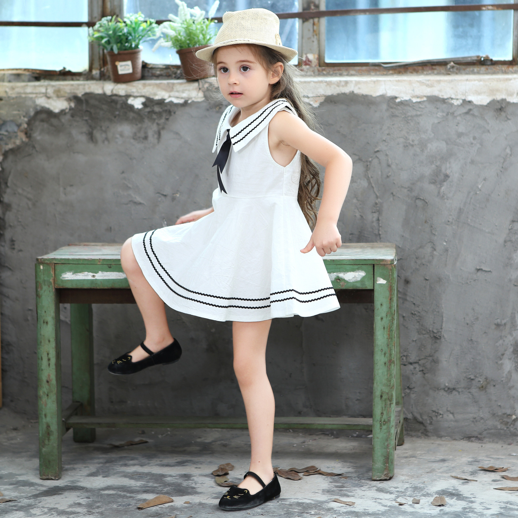 Girls Summer Dress 2017 Baby Girl Sailor Collar Princess Dress Kids Casual Cotton Dresses With Bowtie Children Clothes Costume summer seaside girls dresses children korean style clothing big girl casual striped costume kids cotton clothes junior vestidos