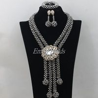 2015 New Wedding African Jewelry Sets Austrian Nigerian Crystal Beads Necklace Clip Earrings Sets Free Shipping AMJ905