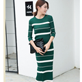 2017 Spring Autumn women's slim Tracksuit New 2 Piece three quarter Sleeve stripe Package Hip Sexy Knitting sets for women