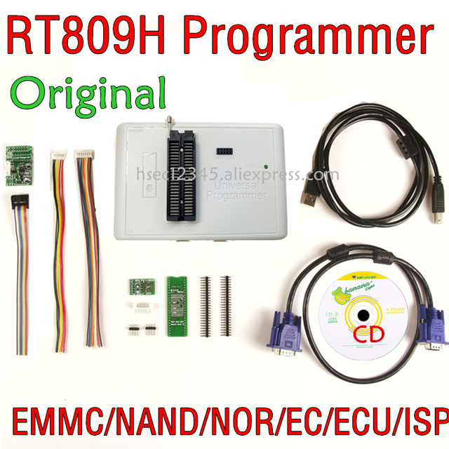 Original RT809H+CD software+ ICSP+ISP EMMC Nand NOR FLASH Extremely Universal Programmer better than RT809F CH341A programmer