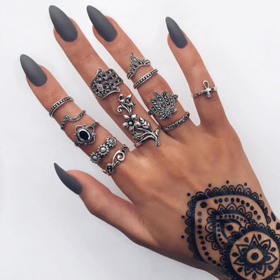 HuaTang Bohemian Antique Silver Ring Geometric Elephant Flower Green Rhinestone Knuckle Rings Midi Finger Anel Rings Jewelry 91