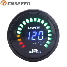 Free Shipping CNSPEED 12V 252mm Digital Auto Oil Pressure Gauge 0-120Psi Led Light With Sensor