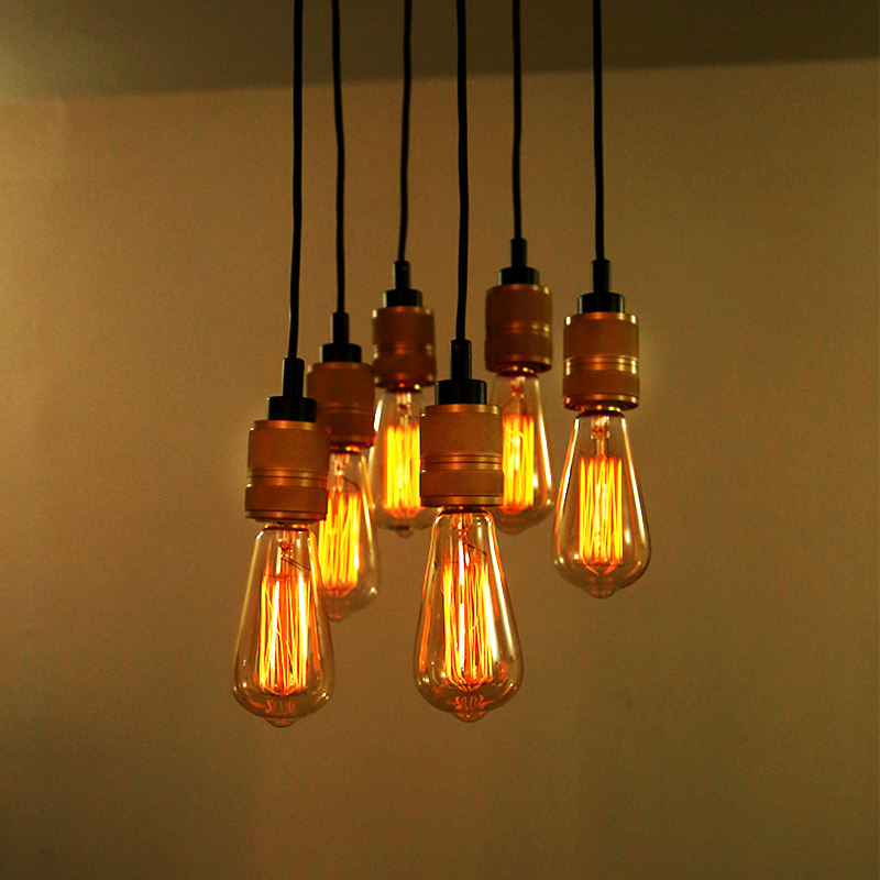 Retro Edison Bulbs Pendant Lights Vintage Dumb Bronze Hanging Lamp 6 Heads Restaurant Lighting Home Decoration Free Shipping In From