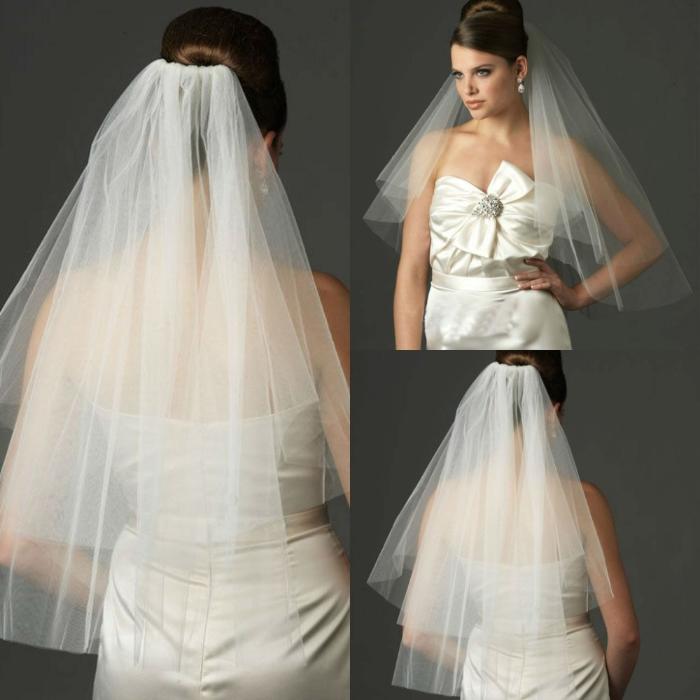 Wedding Hairstyle Prices: Simple Design Short White Tulle Bridal Veil Cut Edge Cheap