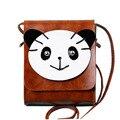 Lazer moda Saco de Retalhos de Ombro Único Bonito Panda Encantador da Menina Mini Bolsa Crossbody Mulheres Messenger Bag PU Bolsa de Couro PP-592