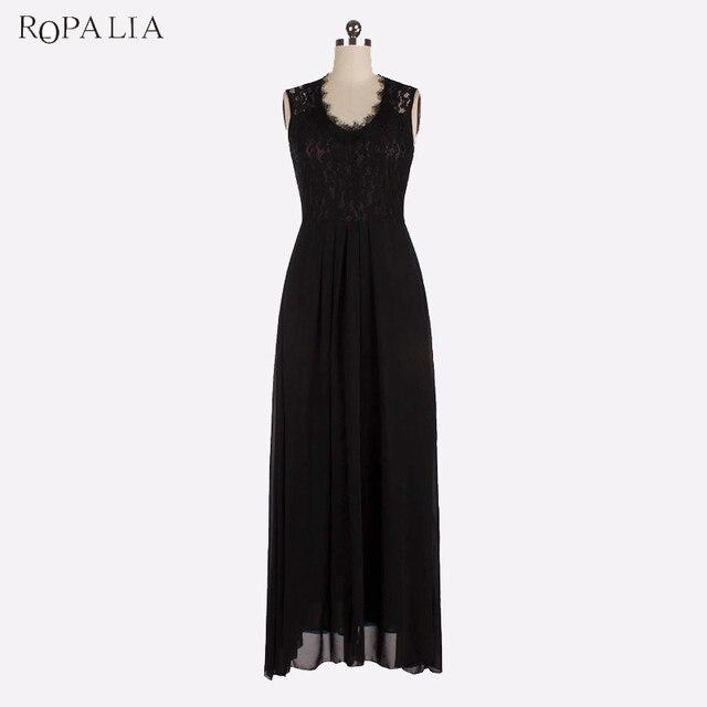 ROPALIA Summer Party Maxi Dress Female Elegant Sleeveless Openwork Back  Slim Dresses Women Long Vintage Vestidos 95c8644df870