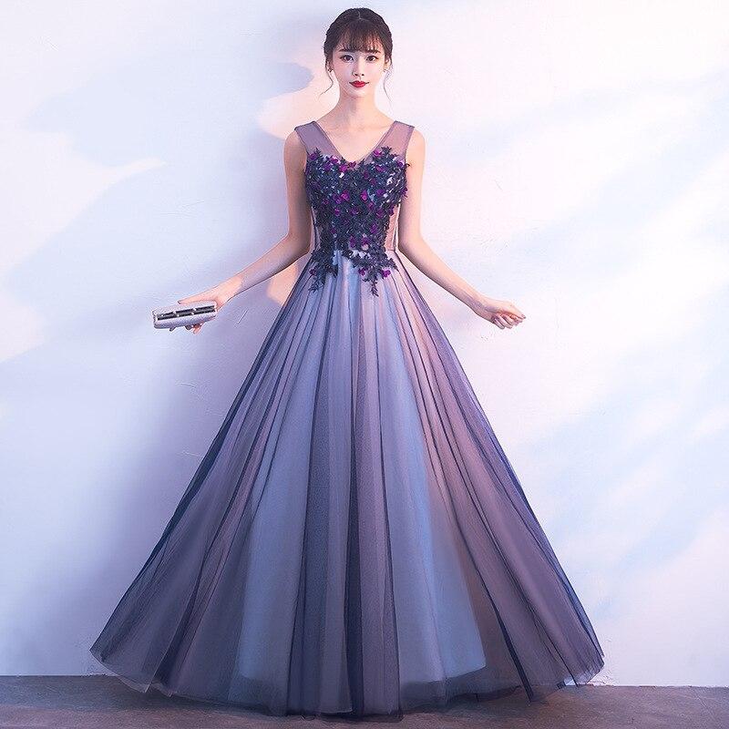 Élégant col en v longues robes de soirée Appliques perles robes de bal robe de soirée formelle sans manches à lacets vestido de festa 2019