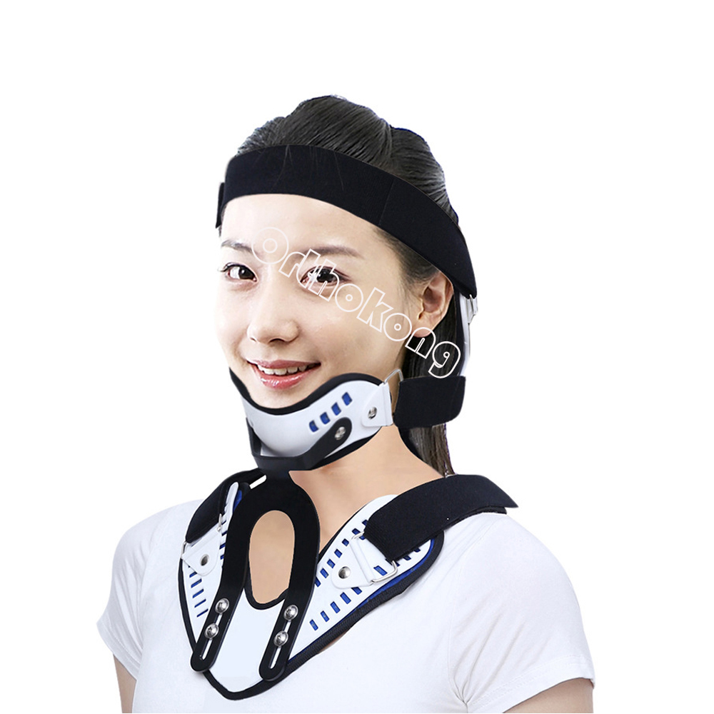 Medical Neck Support Orthosis Adjustable Cervical Collar Device Fixed Traction Braces Vertebra Rehabilitation Head Protection adult cervical traction apparatus inflatable support fixed tuohu neck with neck stretching his neck