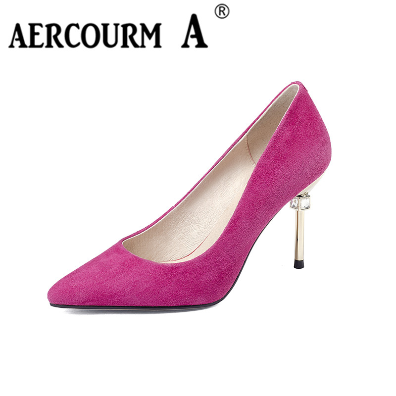 Aercourm A Women Shoes Genuine Leather Women High Heel 8CM Shoes Solid Red Black Pointed Sexy Wedding Sheep Leather Shoes F006 aercourm a 2018 women black fashion shoes female bright genuine leather shoes pearl high heel pumps bow brand new shoes z333