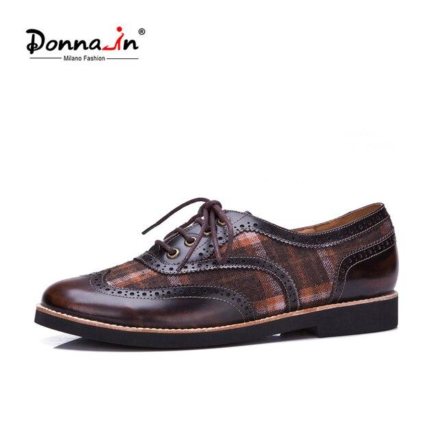 Donna-in/женские оксфорды из натуральной кожи, броги, обувь на плоской подошве ручной работы, Винтажная обувь из телячьей кожи на шнуровке, женская обувь на плоской подошве, весна 2019