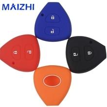 maizhi 2 Button Silicone Remote Car Key Case Cover For Toyota Corolla Hilux Vitz Vios Rav4 Aqua Camry Highlander Land Cruis