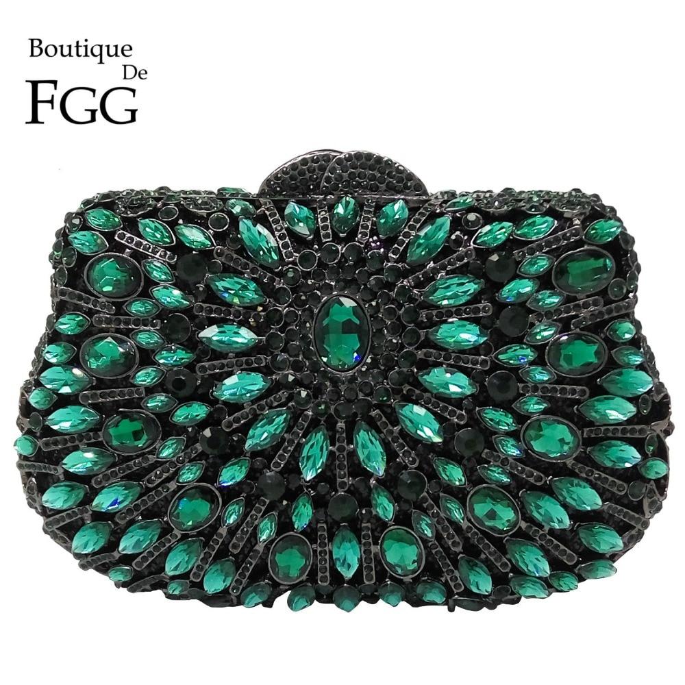 ФОТО Dazzling Green Emerald Diamond Hollow Out Women Mini Evening Bag Wedding Clutch Handbag Bridal Hardcase Metal Clutches Purse