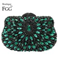 Dazzling Green Emerald Diamond Hollow Out Women Mini Evening Bag Wedding Clutch Handbag Bridal Hardcase Metal Clutches Purse