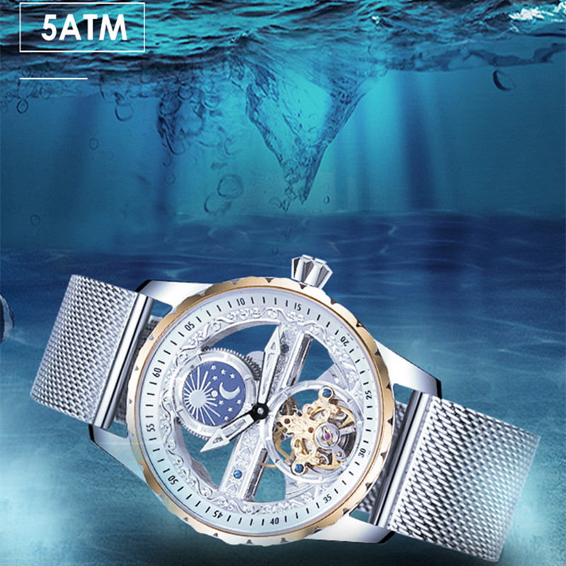 Image 5 - Creative Transparent Men Mechanical Self Winding Watches  Automatic Tourbillon Watch Real Leather Waterproof Montre Moon  PhaseSports Watches