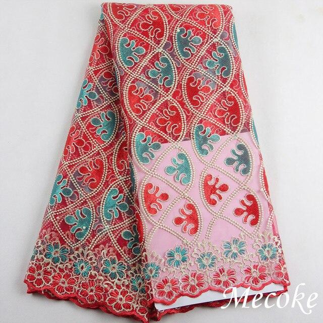 Распродажа 2017 г., высокое качество нигерийское Тюлевое кружево ткани с рисунком Красного арбуза; штаны в африканском стиле французская кружевная ткань синий вышитые сетчатые кружева