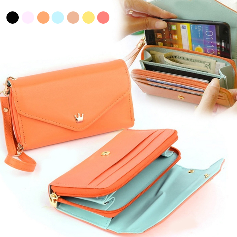 2018 Luxury Brand Long Wallet Clutch Women's Wallet PU Leather Purse Bag Cell Phone Zipper Pocket Coin Female Pouch Colorful 2 trendy pu leather pouch bag for cell phone gadgets black