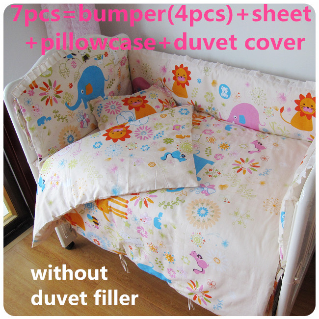Promotion! 6/7PCS Baby Cot HOT baby bedding set Pure cotton curtain crib bumper ,duvet cover ,120*60/120*70cm