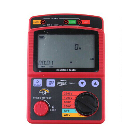 High Voltage Digital Insulation Resistance Meter Insulation Tester GM3123 benetech gm3125 energy saving portable 12v 1 4ma voltage overload insulation resistance tester