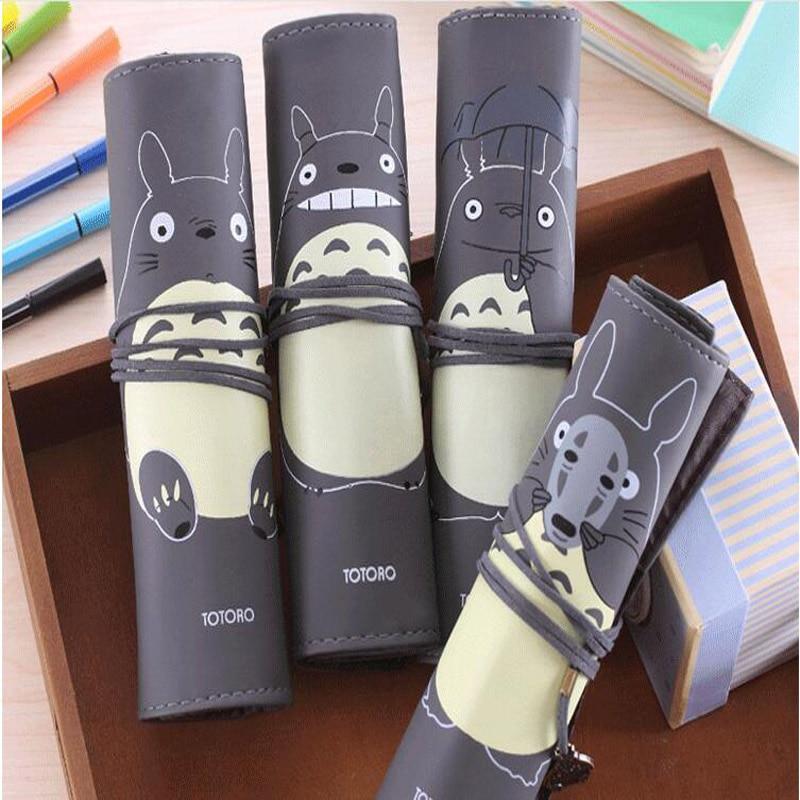 Creative Novelty My Neighbor Totoro Rolling Simple Vintage Bandage Pen Case Pencil Box Bag Cosmetic Makeup