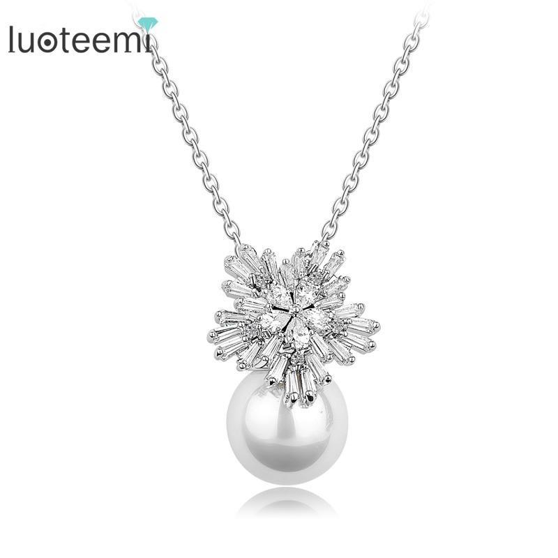 LUOTEEMI European Style Flower Jewelry Clear CZ Imitation Pearl Pendant Necklace Women Zircon Chain Wedding Necklace Jewelry