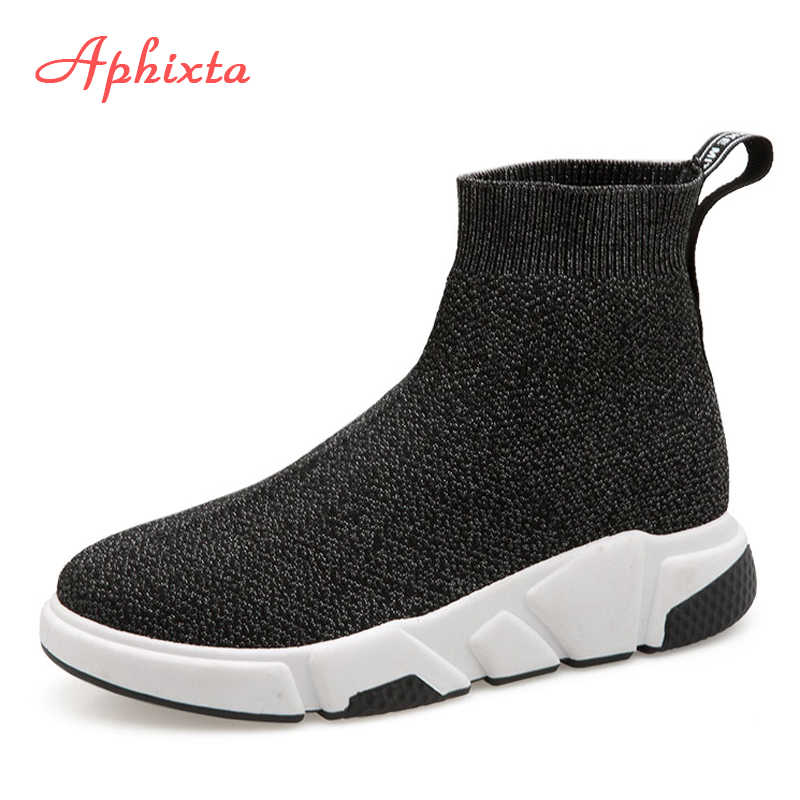 887370654153 Aphixta Shoes Women Height Increasing Ankle Boots Pointed Toe Fabric Slip-On  Ladies Mujer Sping
