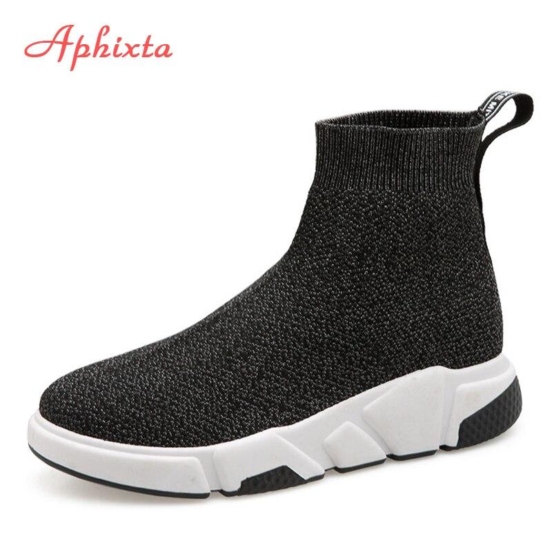Aphixta Shoes Mulheres Altura Crescente Ankle Boots Dedo Apontado Tecido Slip-On Senhoras Sping Mujer Neve L Moda Mulher sapatos