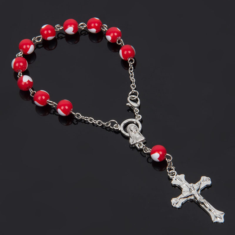 8 mmcoloré en plastique coeur perles chapelet Bracelet avec homard en argent fait en métal Maria Center & jésus Crucifix croix pendentifs amour